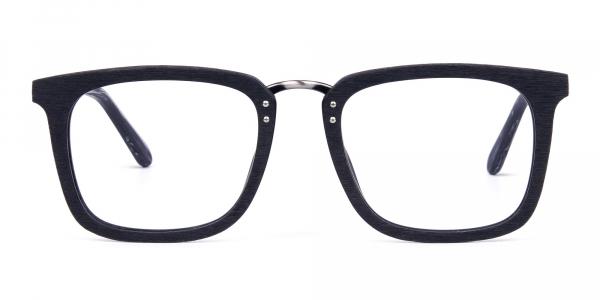 Wooden Texture Black Square Glasses