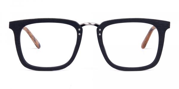 Black and Brown Full Rim Wooden Glasses