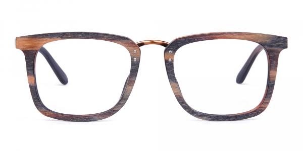 Wooden Texture Tortoise Full Rim Glasses