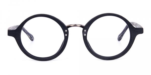 Black Round Full Rim Wooden Glasses
