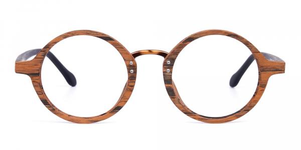 Elm Brown Round Full Rim Wooden Glasses
