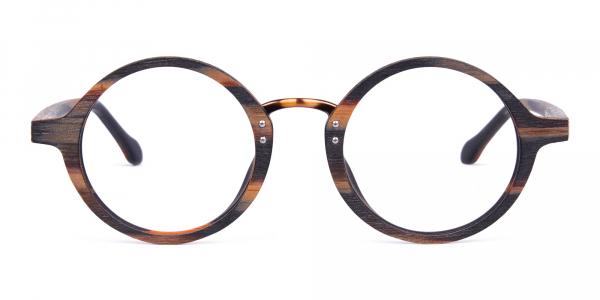 Tortoise Round Full Rim Wooden Glasses