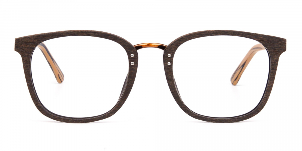 Wooden Texture Mocha Brown Rim Glasses