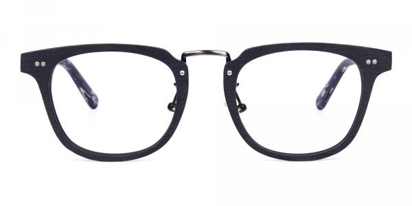 Black Square Full Rim Wooden Glasses
