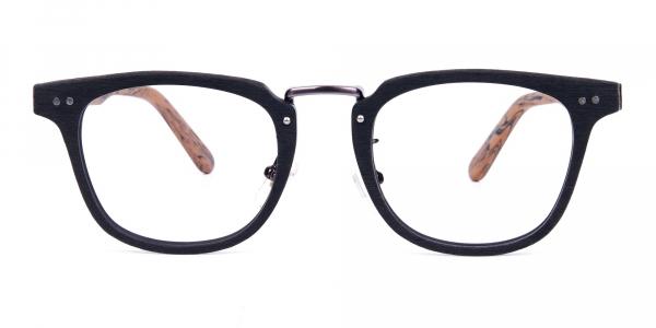 Brown and Black Full Rim Wooden Glasses