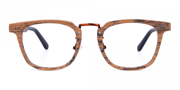 Brown Black Full Rim Wooden Glasses