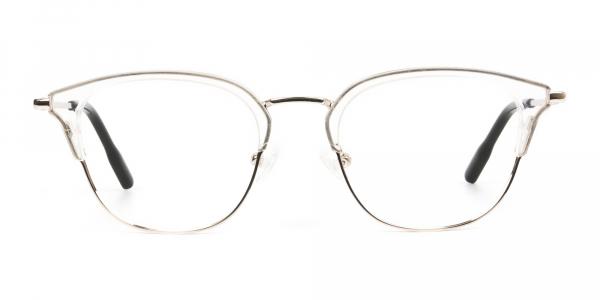 Wayfarer & Browline Crystal Clear & Champagne Gold Eyeglasses