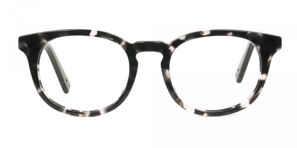 Marble Grey & Translucent Olive Green Round Glasses