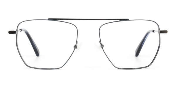 Silver and Royal Blue Wire Frame Glasses Men Women