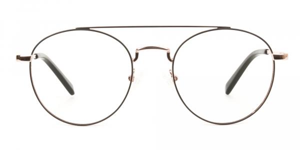 Black & Rose Gold Round Aviator Glasses