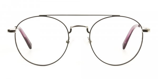 Lightweight Black & Silver Round Aviator Glasses in Metal