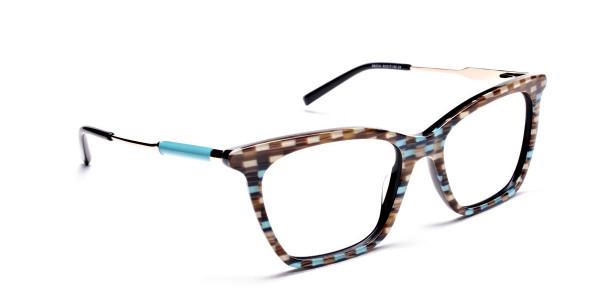 Beige & Mint Retro Glasses -1