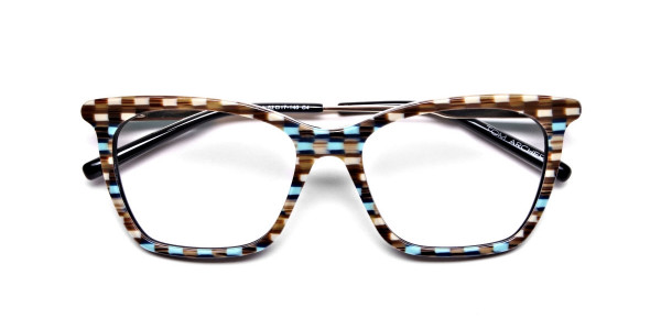 Beige & Mint Retro Glasses -7