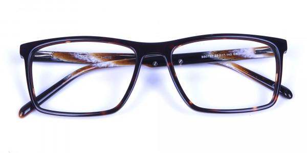 Rectangular glasses in tortoise shell for men & women - 5