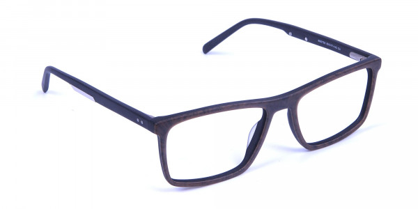 Wooden Texture Brown Rectangular Glasses for men and women - 1