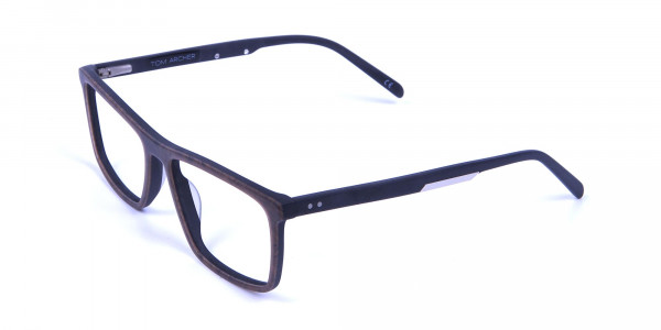 Wooden Texture Brown Rectangular Glasses for men and women - 2