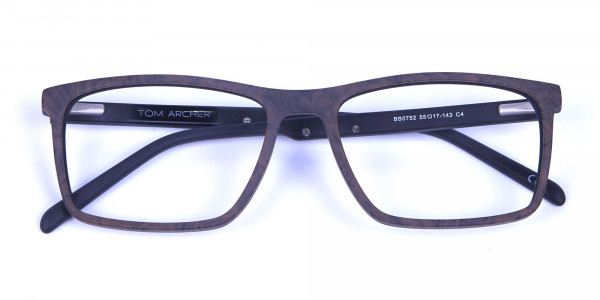 Wooden Texture Brown Rectangular Glasses for men and women - 5