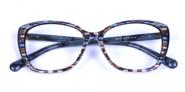 Beige & Mint Cat eye Glasses for Women - 5