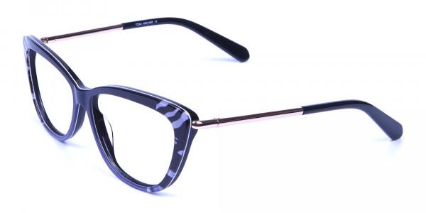 Gradient Black Zebra Striped Glasses -2
