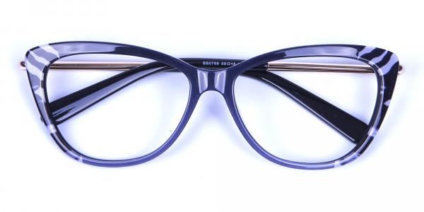 Gradient Black Zebra Striped Glasses -5