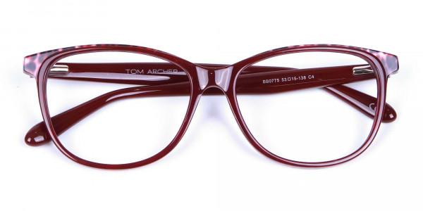 Burgundy Red Cat Eye Glasses for Women - 5