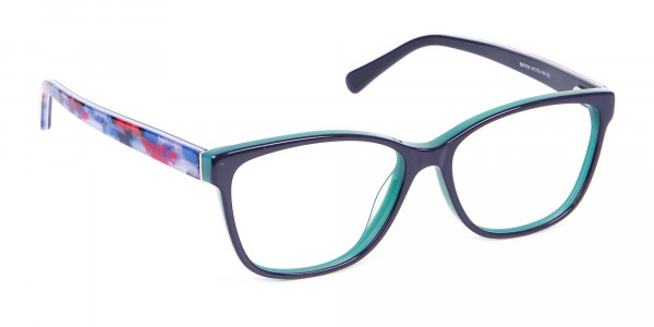 Navy Blue Rectangular Glasses With Flowery Printing - 2