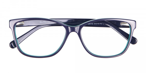 Navy Blue Rectangular Glasses With Flowery Printing - 6