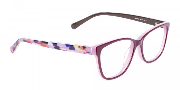 Rectangle Frame with Patterns Burgundy & Pink-2