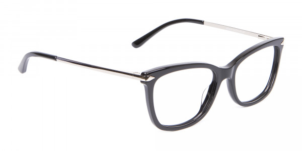 Ladies Mordern Rectangular Glasses in Black- 2