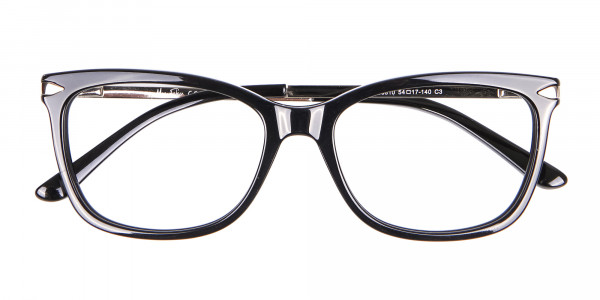 Ladies Mordern Rectangular Glasses in Black- 6
