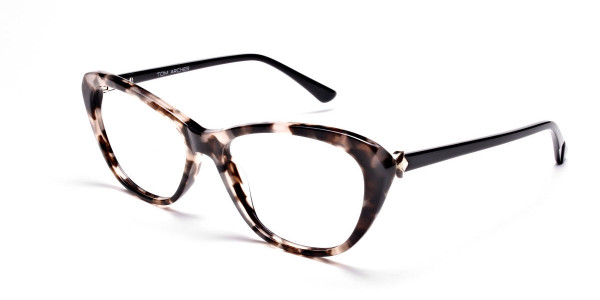 Cat Eye Transparent with Brown Accents -2