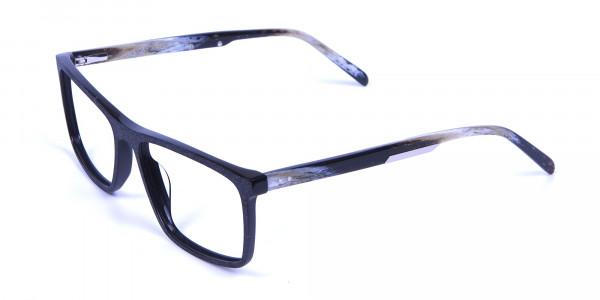 Wooden Texture Black Rectangular Glasses - 2