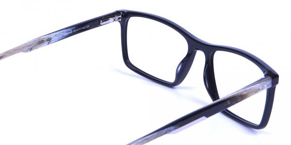 Wooden Texture Black Rectangular Glasses - 4