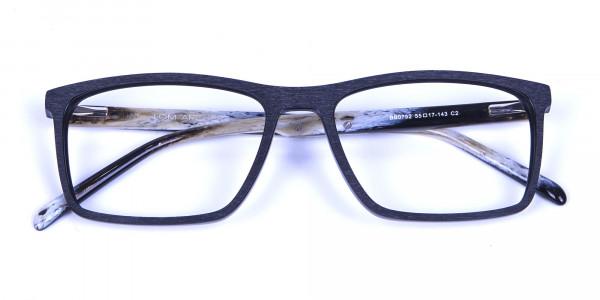 Wooden Texture Black Rectangular Glasses - 5