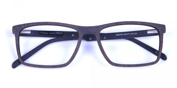 Wooden Texture Brown Rectangular Glasses for men and women - 5