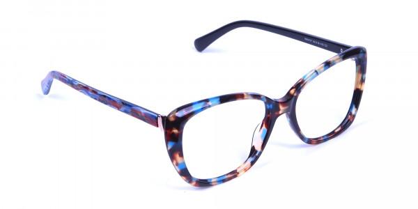 Blue Tortoiseshell Cateye Glasses for Women - 1