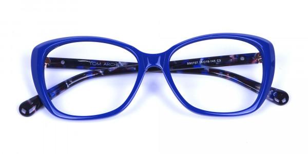 Royal Blue Cat Eye Glasses for Women - 5