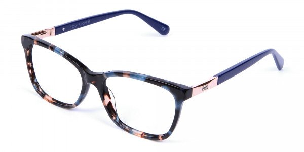 Blue Tortoiseshell Cat Eye Glasses for Women - 2