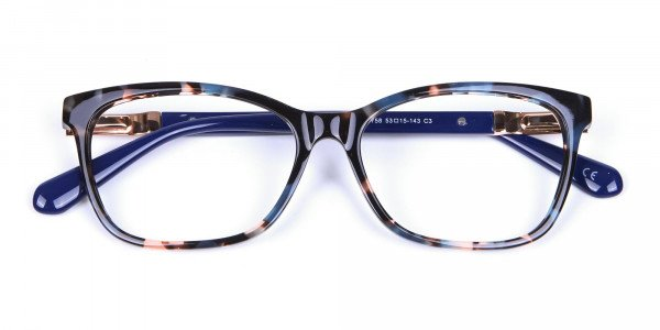 Blue Tortoiseshell Cat Eye Glasses for Women - 5