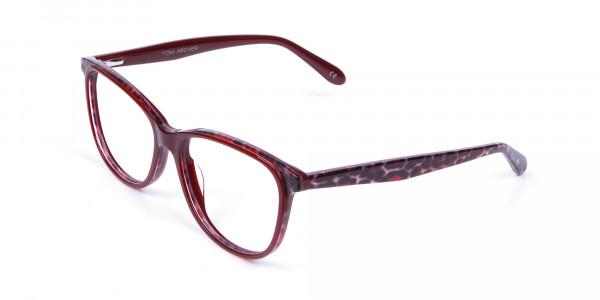 Burgundy Red Cat Eye Glasses for Women - 2