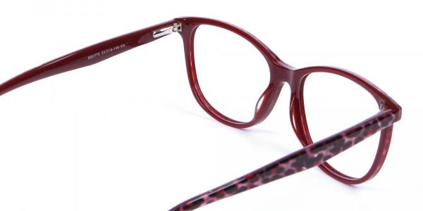 Burgundy Red Cat Eye Glasses for Women - 4