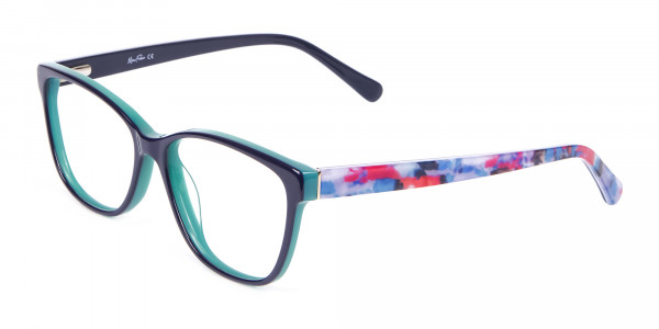 Navy Blue Rectangular Glasses With Flowery Printing - 3