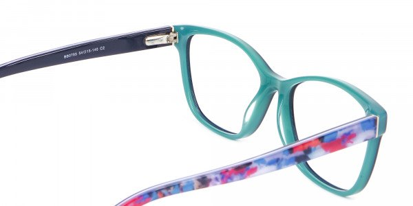 Navy Blue Rectangular Glasses With Flowery Printing - 5