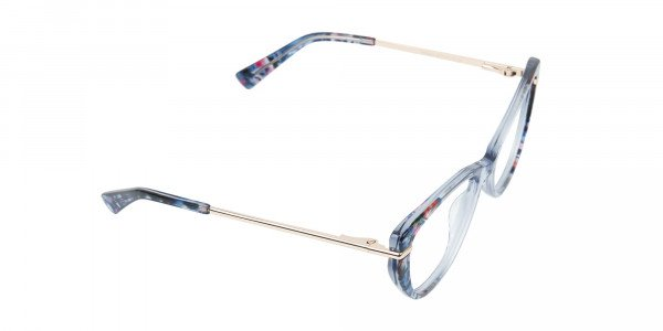 Crystal Blue Cat-Eye Glasses Gold Temple-2