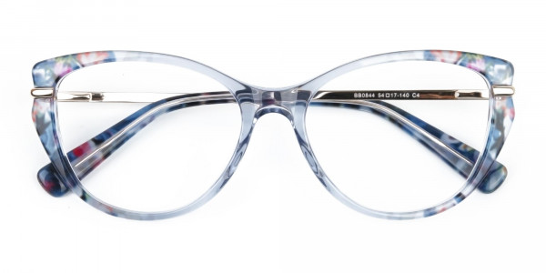 Crystal Blue Cat-Eye Glasses Gold Temple-5
