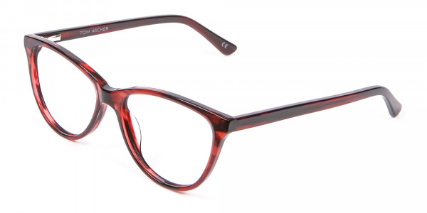 Designer Red Cat Eye Glasses for Women - 2