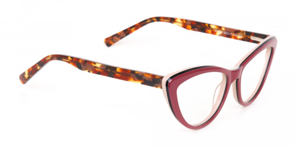 Red and Nude Tortoise Cat eye glasses Women-2