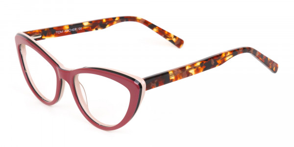 Red and Nude Tortoise Cat eye glasses Women-3