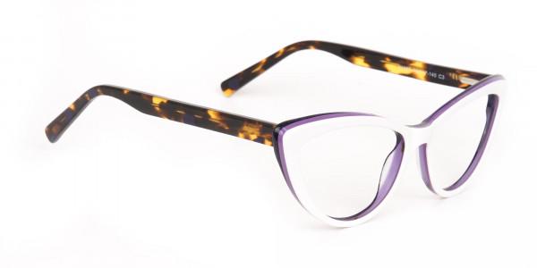 Daisy White & Violet Purple Tortoise Cat Eyeglasses Women-2