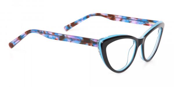 Black & Blue, Purple tortoise Cat eyeglasses Women-2